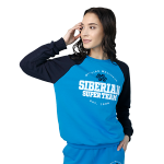 Siberian Super Team sweatshirt for women (color: blue; size: XS)